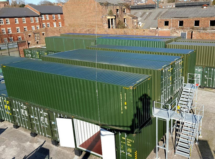 Urban Space Self Storage Liverpool: container aerial view